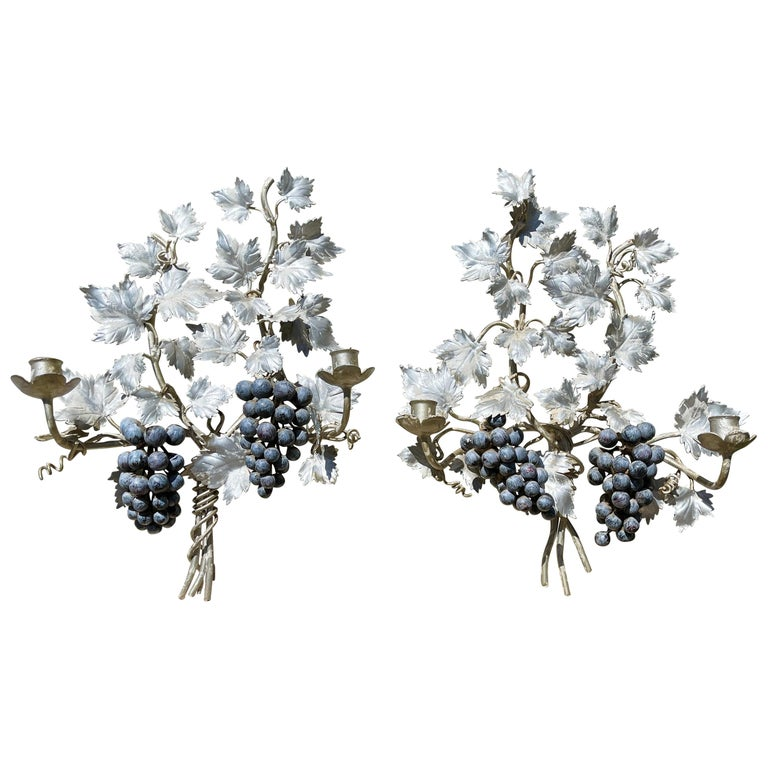 Pair of Silvered and Painted Iron Grape Vine Wall Lamps For Sale