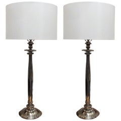 Pair of Silvered Cast Bronze Column Lamps