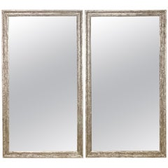Pair of Silvered Hand Carved Mirrors by MLA