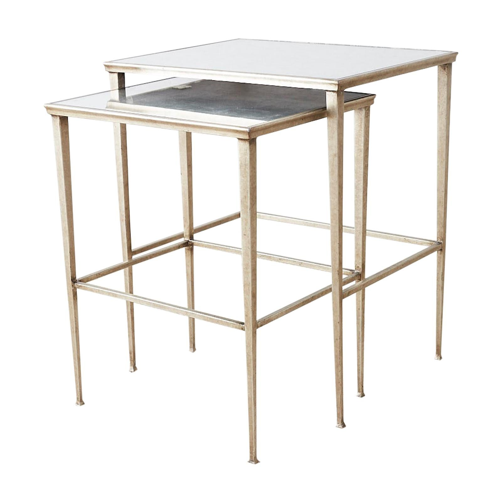 Pair of Silvered Iron Nesting Tables with Mirrored Tops