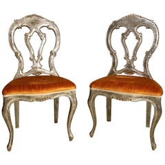 Pair of Silvered Italian Rococo Side Chairs
