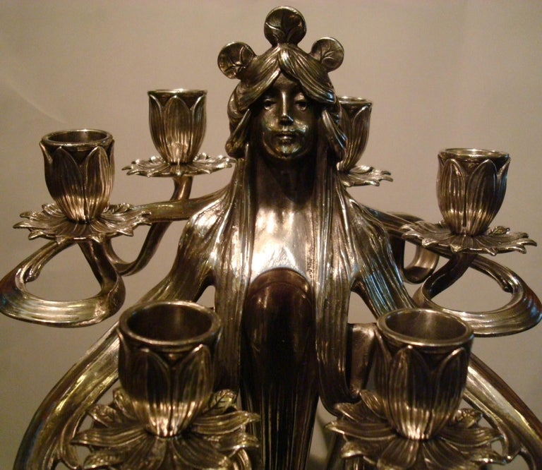 Pair of Silvered Pewter Art Nouveau Candelabra by Achille Gamba In Good Condition For Sale In Buenos Aires, Olivos