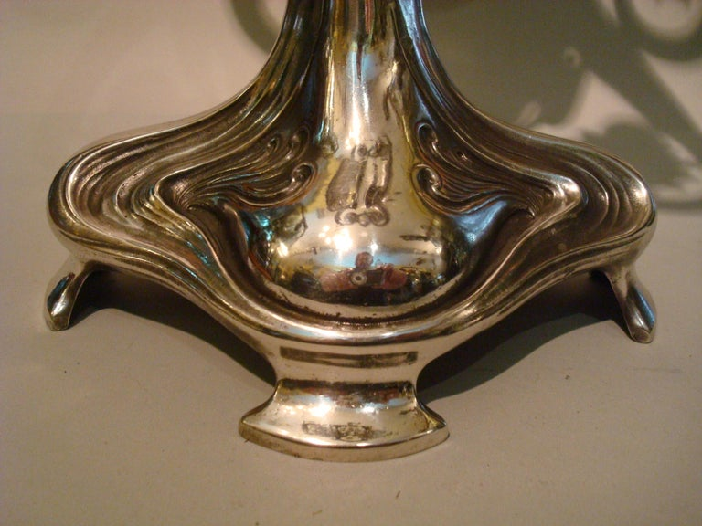 20th Century Pair of Silvered Pewter Art Nouveau Candelabra by Achille Gamba For Sale