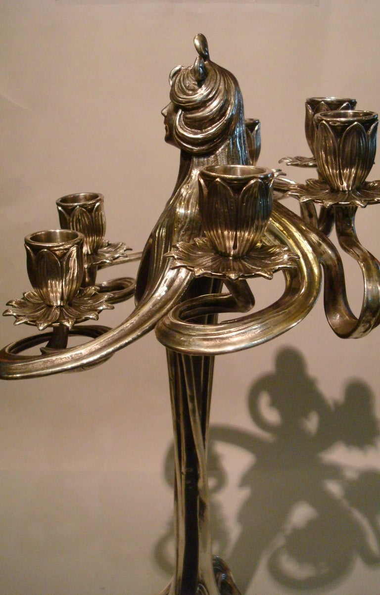 Pair of Silvered Pewter Art Nouveau Candelabra by Achille Gamba For Sale 1