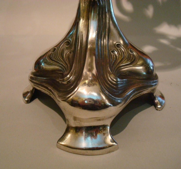 Pair of Silvered Pewter Art Nouveau Candelabra by Achille Gamba For Sale 2