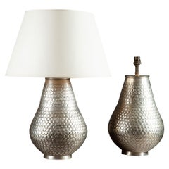 Pair of Silvered Punched Metal Vases as Table Lamps