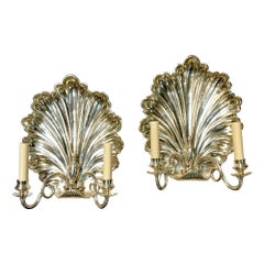 Pair of Silvered Shell Sconces.