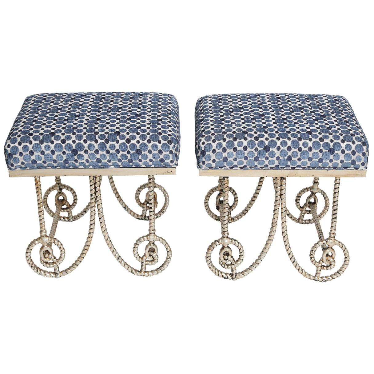 Pair of Silvergilt Metal Benches with Scrolling Legs