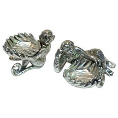 Pair of Silver Plated Reclining Monkey Salts or Nut Dishes