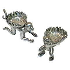 Pair of Silver Plated Standing Monkey Salts or Nut Dishes
