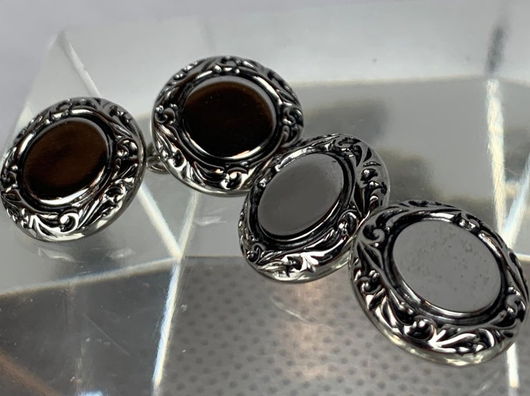 Women's or Men's Pair Double Round Silver Tone Cufflinks with Raised Border For Sale