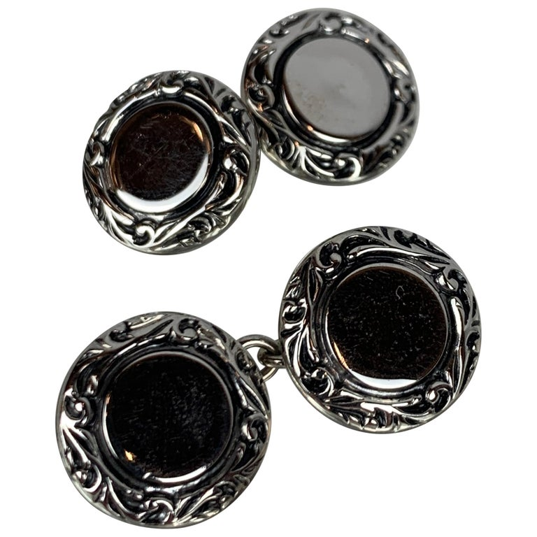 Pair Double Round Silver Tone Cufflinks with Raised Border For Sale