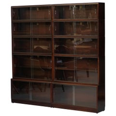 Pair of Simplex Dark Mahogany Sliding Glass Door Modular Legal Library Bookcases