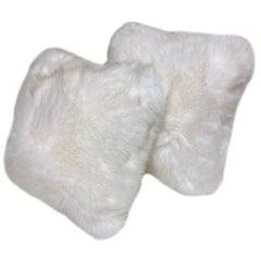"Pair of Simulated ""Polar Bear"" Fur Cushions"
