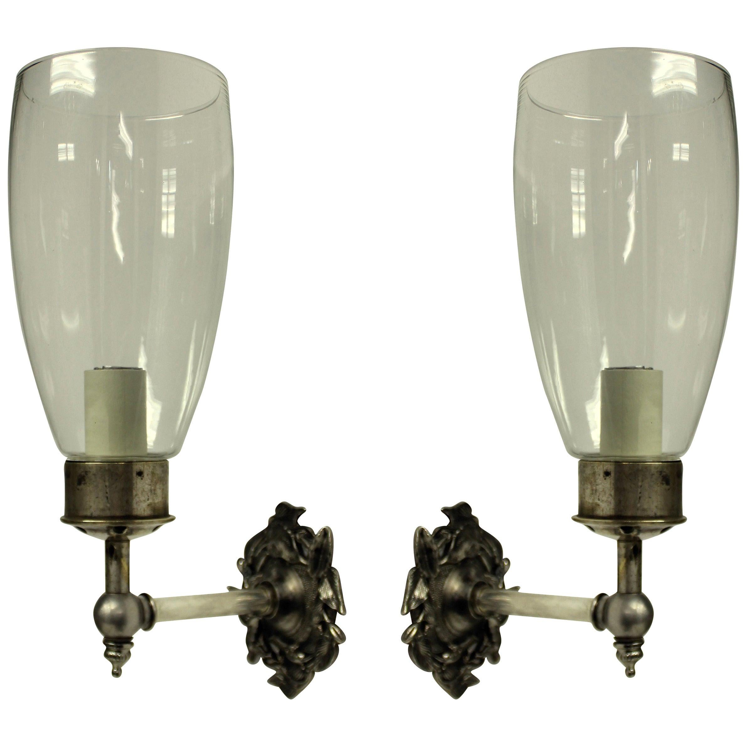 Pair of Single Arm Wall Sconces with Storm Shades
