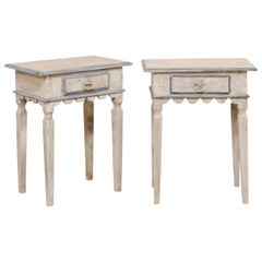 Pair of Single Drawer Carved and Painted Wood Side Tables with Scalloped Aprons