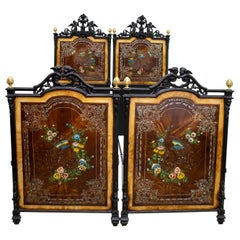 Pair of Single or Doble Beds 19th Century Italian Art Nouveau Hand Painted Iron