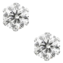 Pair of Single Stone Diamond Stud Earrings