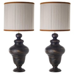 Pair of Sinuous Shaped Ceramic Table Lamps