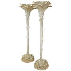 Pair of Sirmos Palm Tree Torchieres in the Manner of Serge Roche