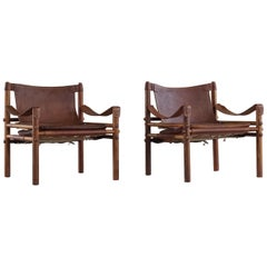 Pair of Sirocco Safari Chairs, Made by Arne Norell AB in Aneby Sweden, 1960s