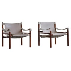 Pair of Sirocco Safari Chairs, Made by Arne Norell AB in Aneby, Sweden, 1960s