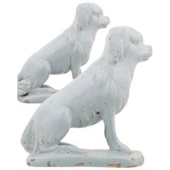 Pair of Sitting Dogs in White Dutch Delftware
