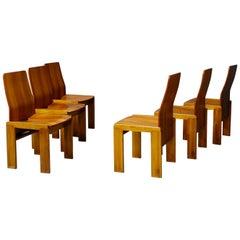 Pair of Six Afra & Tobia Scarpa Midcentury Chair in Wood, 1980s