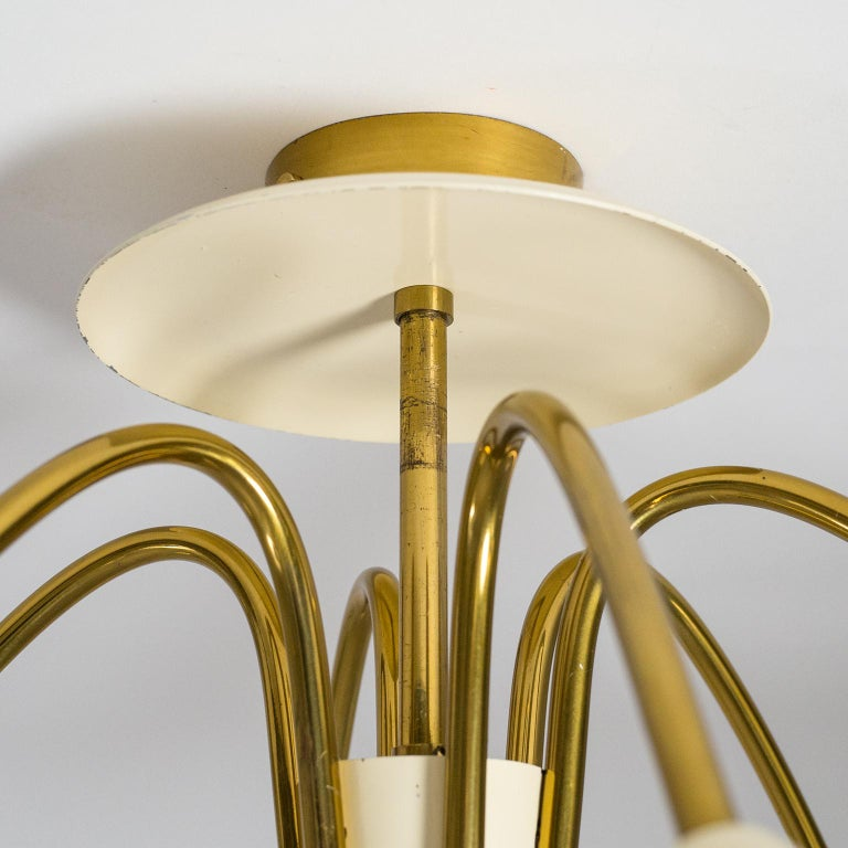Pair of Six Arm Brass Ceiling Lights, circa 1960 For Sale 5