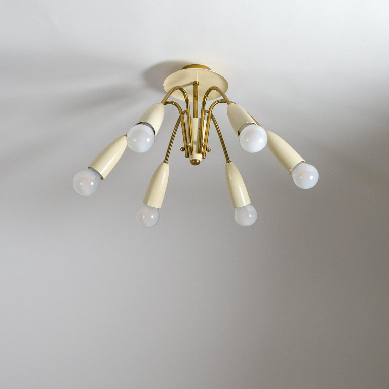 Pair of Six Arm Brass Ceiling Lights, circa 1960 For Sale 7