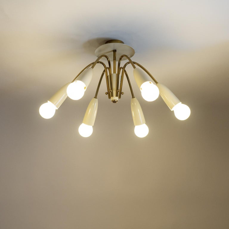 Pair of Six Arm Brass Ceiling Lights, circa 1960 For Sale 8