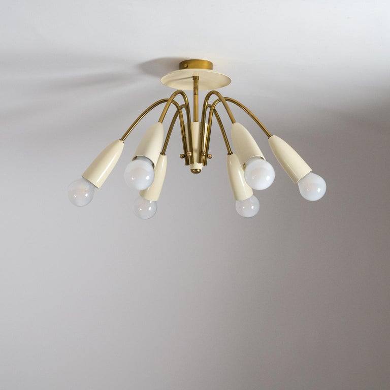 Pair of Six Arm Brass Ceiling Lights, circa 1960 For Sale 9