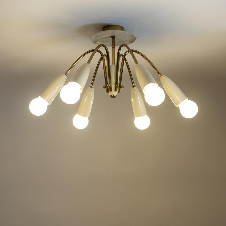 Mid-Century Modern Pair of Six Arm Brass Ceiling Lights, circa 1960 For Sale