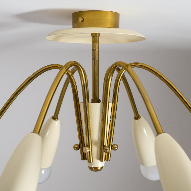 German Pair of Six Arm Brass Ceiling Lights, circa 1960 For Sale
