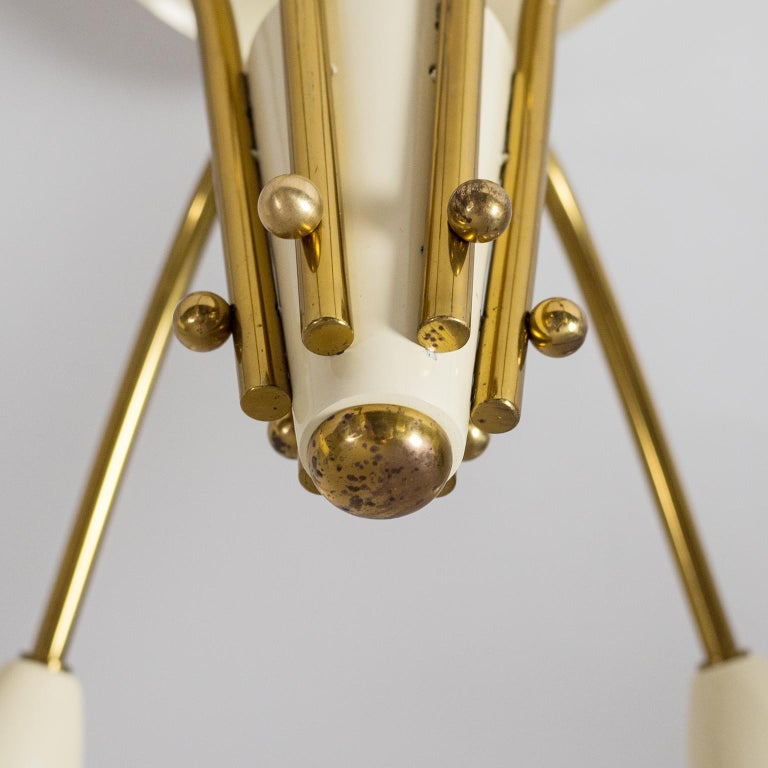 Pair of Six Arm Brass Ceiling Lights, circa 1960 In Good Condition For Sale In Vienna, AT