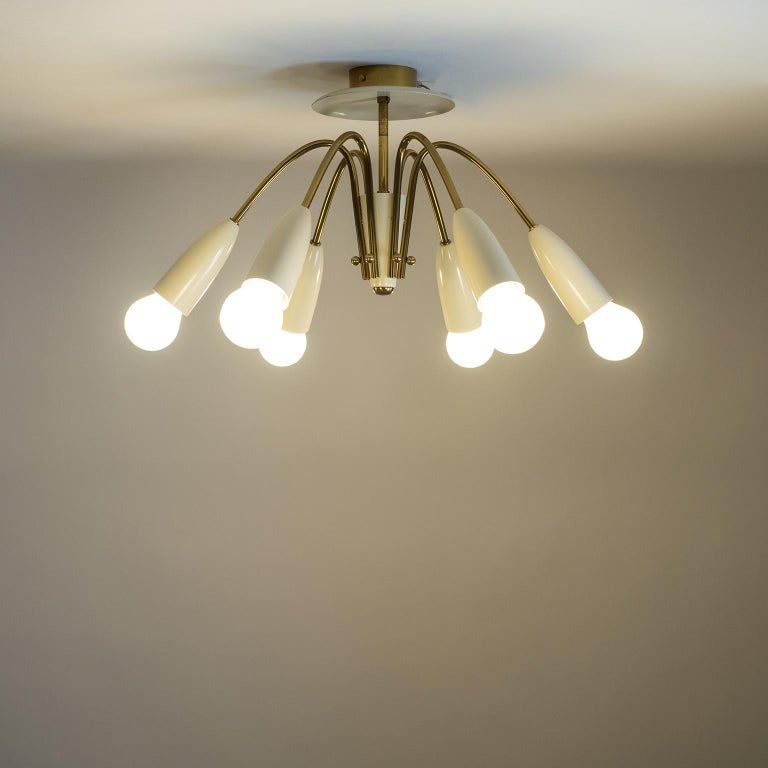 Pair of Six Arm Brass Ceiling Lights, circa 1960 For Sale 2