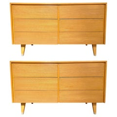 Pair of Six-Drawer Mid-Century Modern Commodes, Chests or Dresser