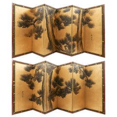 Pair of Six Fold Japanese Paper Screens