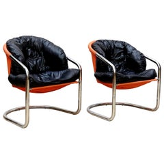 Pair of Skai and Fabric Easy Chairs, circa 1970