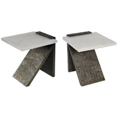 Pair of SKC Rock Crystal Side Tables by Phoenix
