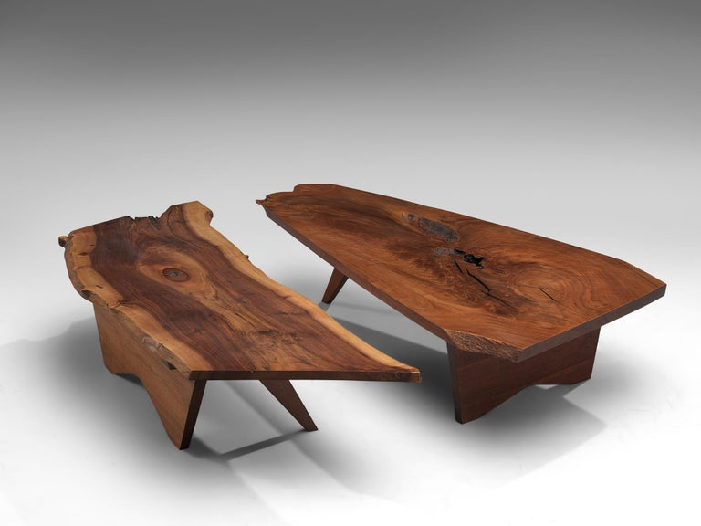 Mid-Century Modern Pair of Slab Coffee Tables by George Nakashima For Sale