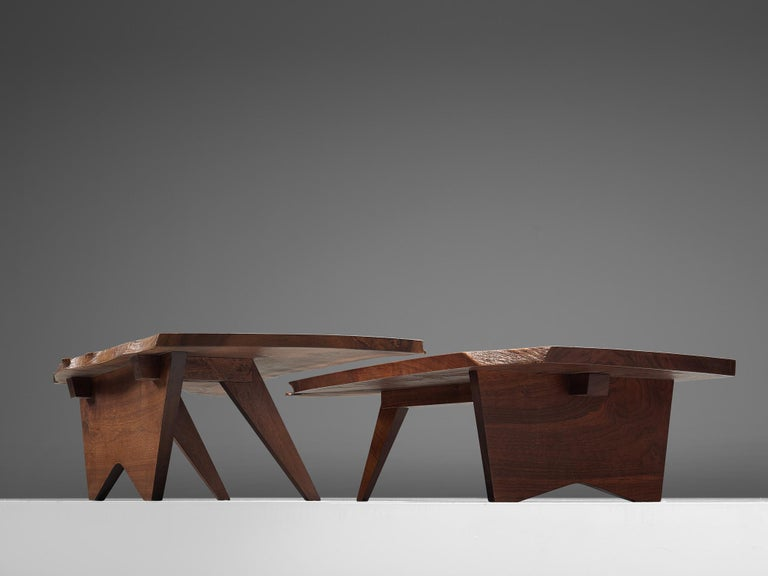American Pair of Slab Coffee Tables by George Nakashima For Sale