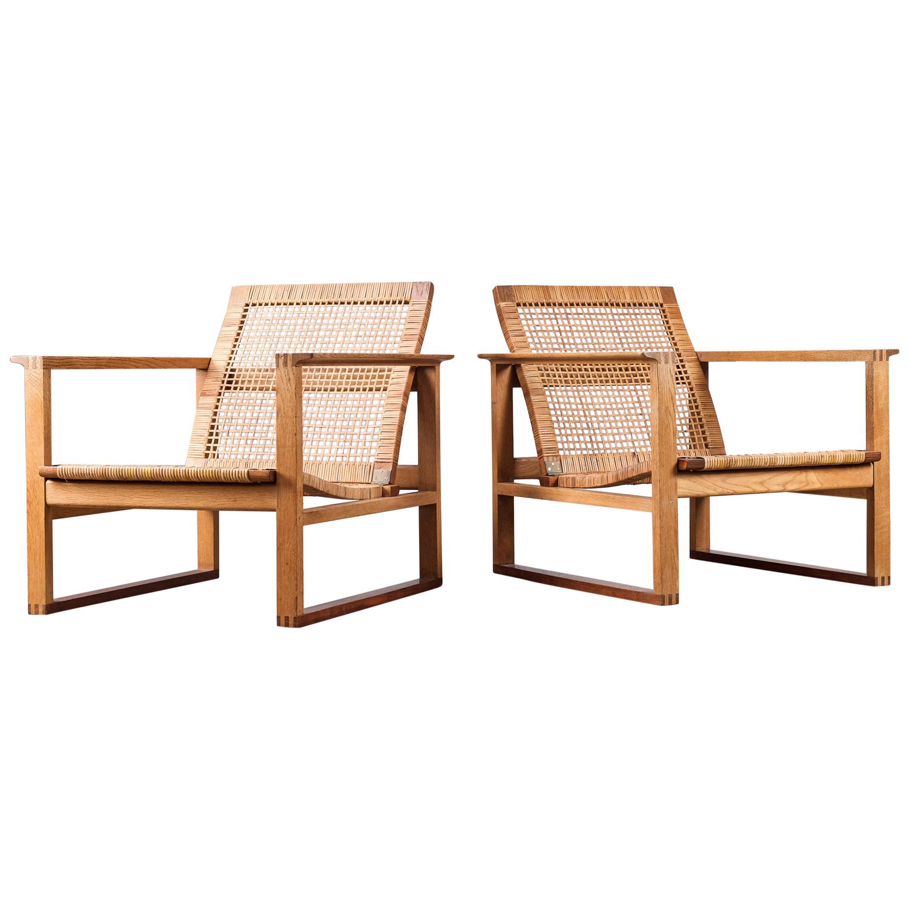 """Pair of """"Slædestolen"""" Børge Mogensen Easy Chairs 2256, 1960s"""