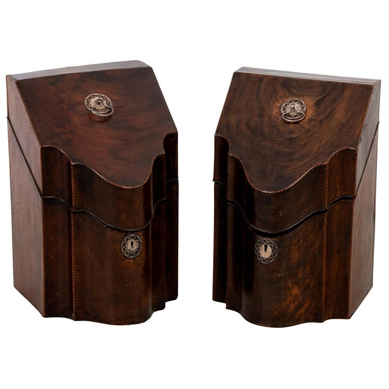 Pair of Slant Front Knife Boxes in the Manner of George Hepplewhite For Sale