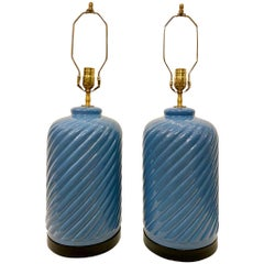 Pair of Slate Blue Porcelain Midcentury Table Lamps
