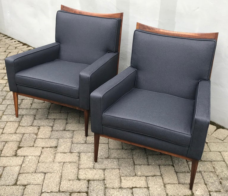 Mid-Century Modern Pair of Slate Grey Paul McCobb Lounge Club Chairs for Directional, 1950s For Sale