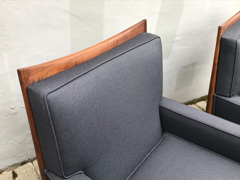 Pair of Slate Grey Paul McCobb Lounge Club Chairs for Directional, 1950s In Good Condition For Sale In Bedford Hills, NY