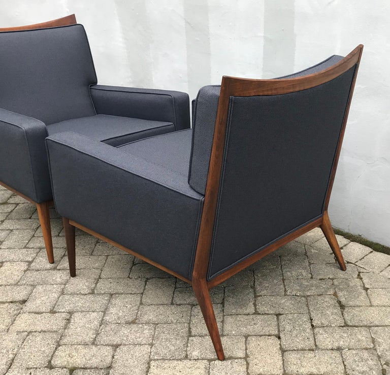 Fabric Pair of Slate Grey Paul McCobb Lounge Club Chairs for Directional, 1950s For Sale