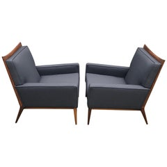Pair of Slate Grey Paul McCobb Lounge Club Chairs for Directional, 1950s