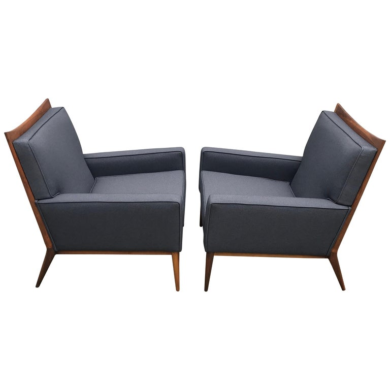 Pair of Slate Grey Paul McCobb Lounge Club Chairs for Directional, 1950s For Sale